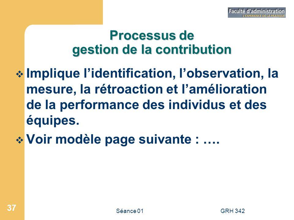 Séance 01GRH 342 37 Processus de gestion de la contribution Implique lidentification, lobservation, la mesure, la rétroaction et lamélioration de la p