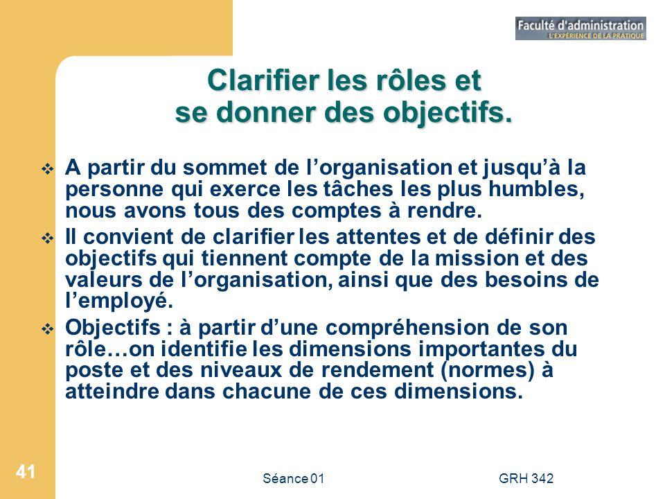 Séance 01GRH 342 41 Clarifier les rôles et se donner des objectifs. A partir du sommet de lorganisation et jusquà la personne qui exerce les tâches le