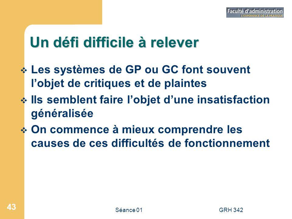 Séance 01GRH 342 43 Un défi difficile à relever Les systèmes de GP ou GC font souvent lobjet de critiques et de plaintes Ils semblent faire lobjet dun