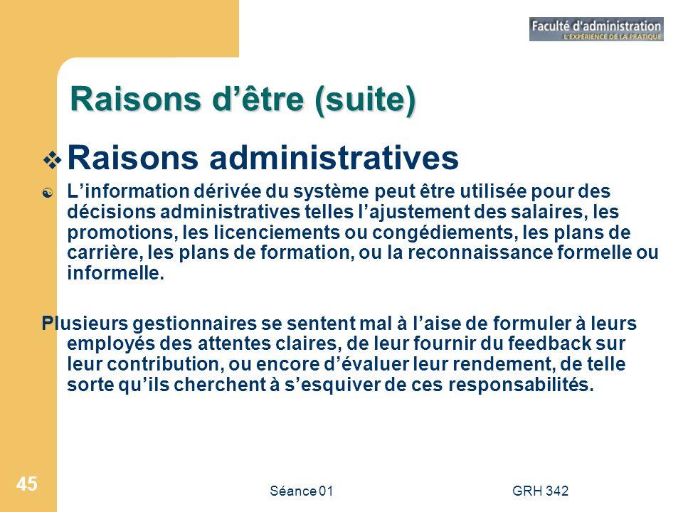 Séance 01GRH 342 45 Raisons dêtre (suite) Raisons administratives [ Linformation dérivée du système peut être utilisée pour des décisions administrati