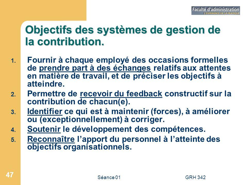 Séance 01GRH 342 47 Objectifs des systèmes de gestion de la contribution. 1. Fournir à chaque employé des occasions formelles de prendre part à des éc