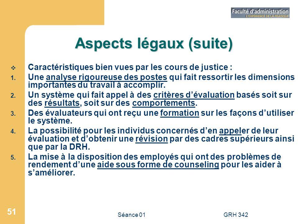 Séance 01GRH 342 51 Aspects légaux (suite) Caractéristiques bien vues par les cours de justice : 1. Une analyse rigoureuse des postes qui fait ressort