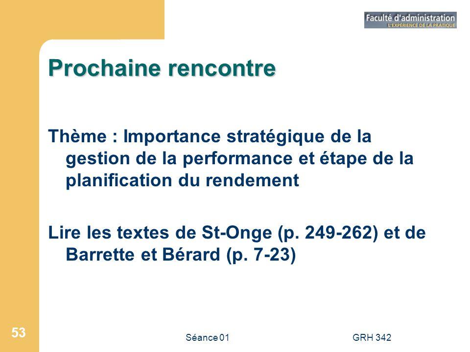 Séance 01GRH 342 53 Prochaine rencontre Thème : Importance stratégique de la gestion de la performance et étape de la planification du rendement Lire