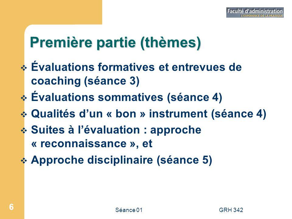 Séance 01GRH 342 7 Deuxième partie Rôle des acteurs (séance 9) Diagnostic des besoins (séance 10) Élaboration de PDRH (séance 11) Théories dapprentissage et mécanismes pour faciliter le transfert (séance 11) Évaluation des résultats de la formation (séance 12)