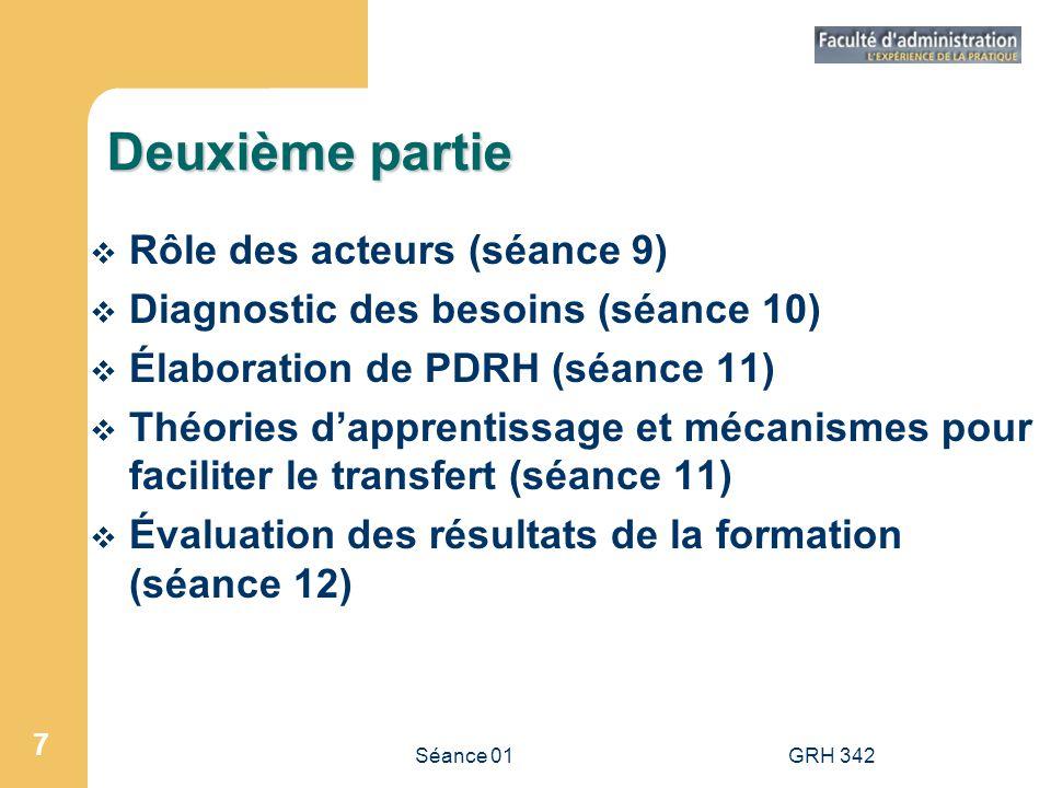 Séance 01GRH 342 7 Deuxième partie Rôle des acteurs (séance 9) Diagnostic des besoins (séance 10) Élaboration de PDRH (séance 11) Théories dapprentiss