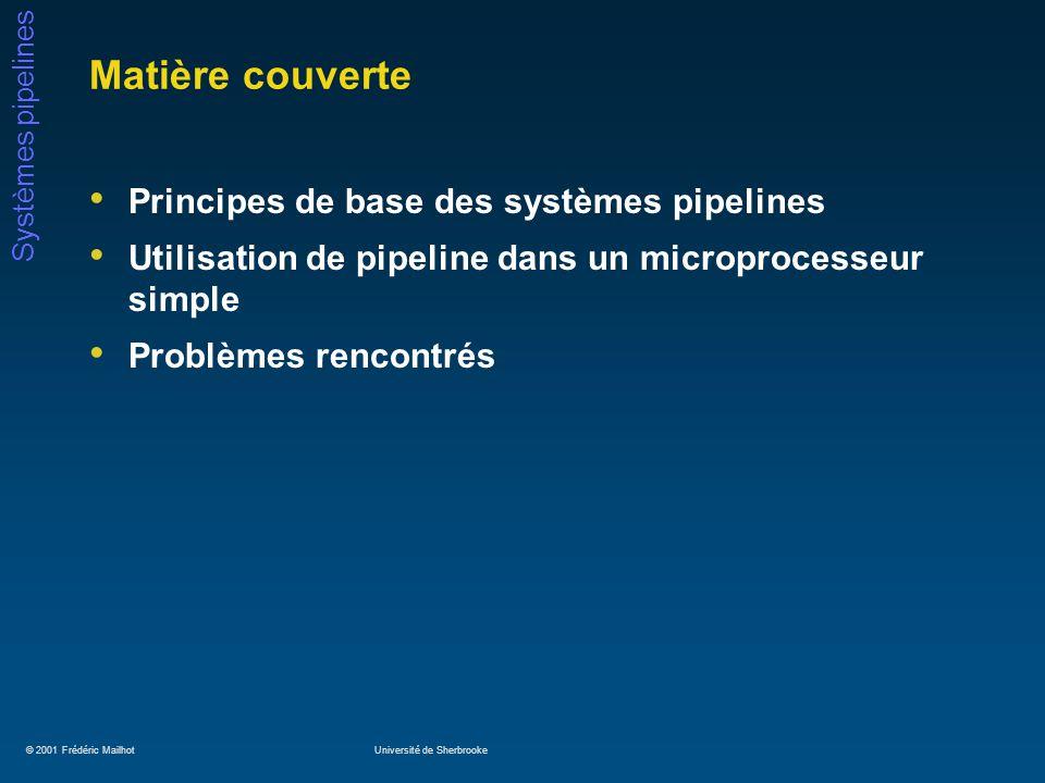 © 2001 Frédéric MailhotUniversité de Sherbrooke Systèmes pipelines Exemple de « pipeline scheduling » Soient les instructions suivantes: A = B + C D = E – F Le code suivant évitera les « stall »: LWRb, B LWRc, C LWRe, E ADDRa, Rb, Rc LWRf, F SWA, Ra SUBRd, Re, Rf SWD, Rd