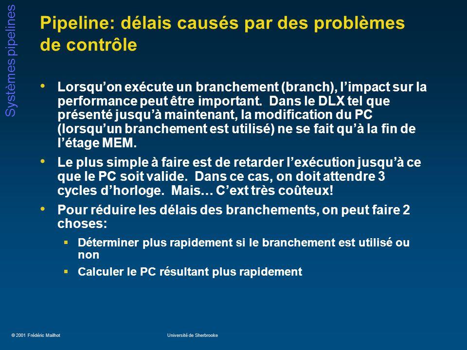 © 2001 Frédéric MailhotUniversité de Sherbrooke Systèmes pipelines Pipeline: délais causés par des problèmes de contrôle Lorsquon exécute un branchement (branch), limpact sur la performance peut être important.