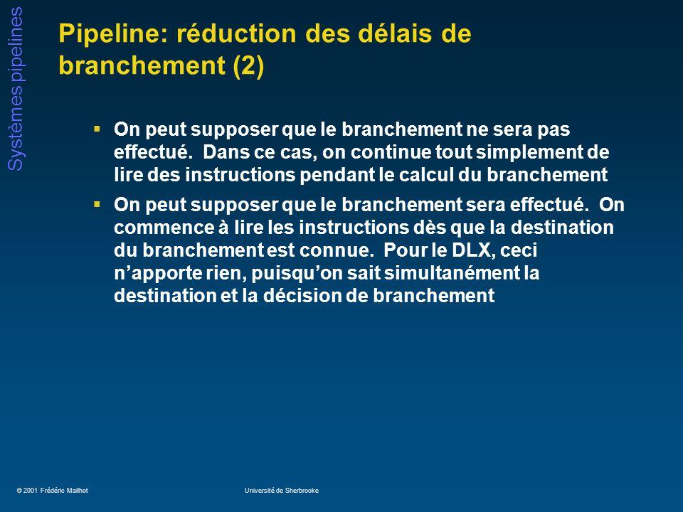 © 2001 Frédéric MailhotUniversité de Sherbrooke Systèmes pipelines Pipeline: réduction des délais de branchement (2) On peut supposer que le branchement ne sera pas effectué.
