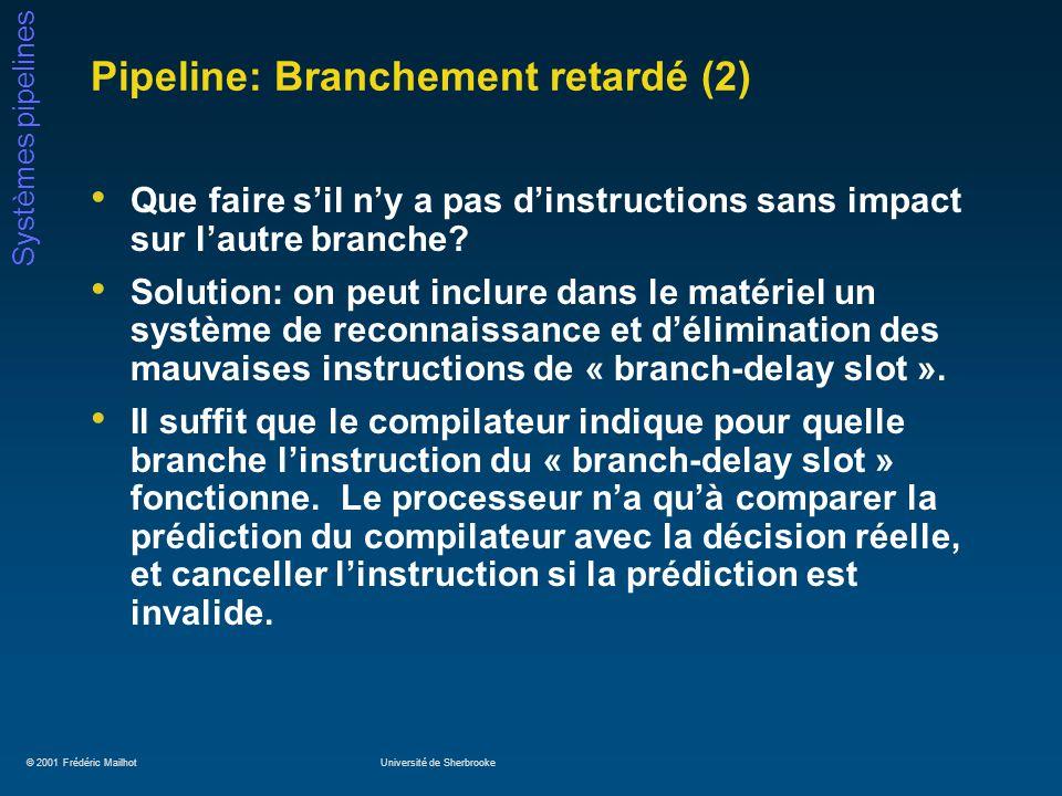 © 2001 Frédéric MailhotUniversité de Sherbrooke Systèmes pipelines Pipeline: Branchement retardé (2) Que faire sil ny a pas dinstructions sans impact sur lautre branche.