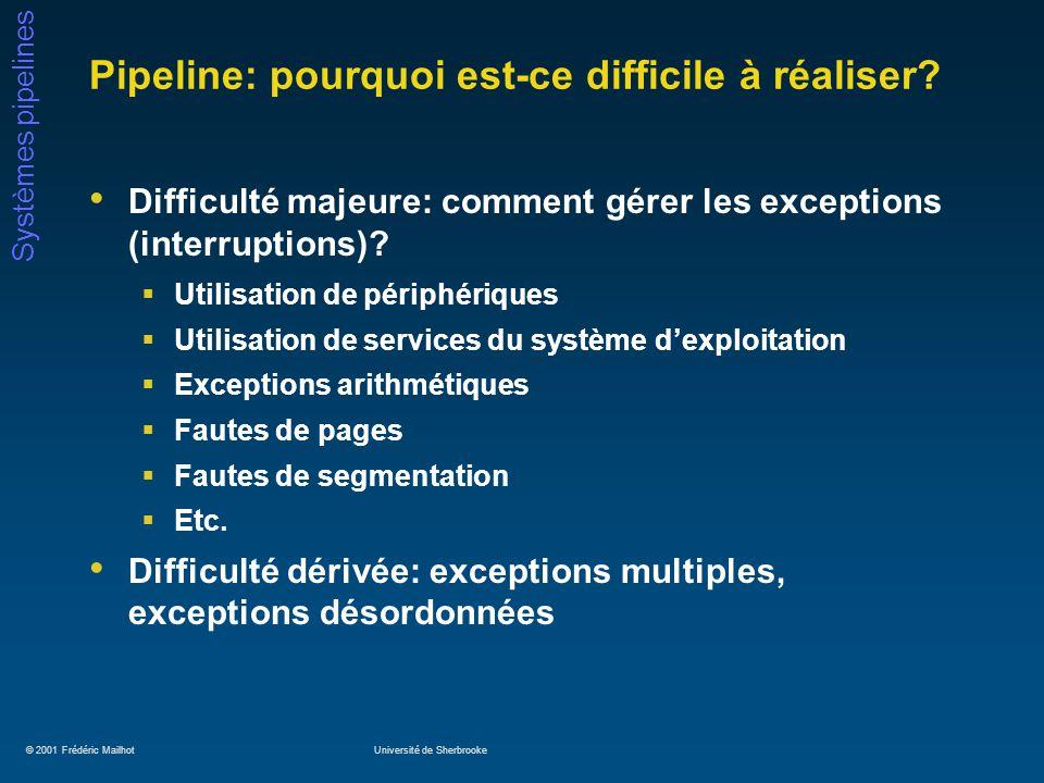 © 2001 Frédéric MailhotUniversité de Sherbrooke Systèmes pipelines Pipeline: pourquoi est-ce difficile à réaliser.