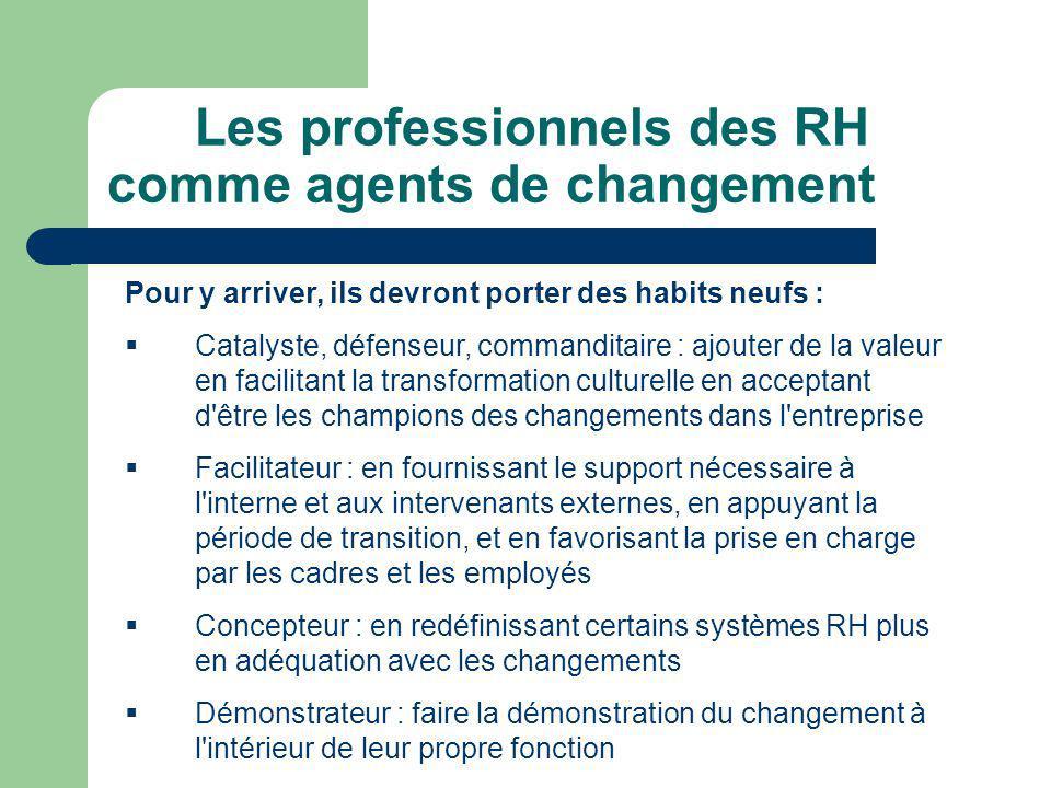 Les professionnels des RH comme agents de changement Pour y arriver, ils devront porter des habits neufs : Catalyste, défenseur, commanditaire : ajout