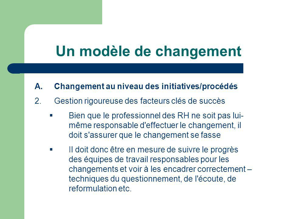 Un modèle de changement A.Changement au niveau des initiatives/procédés 3.Identification d activités d amélioration pour chaque facteur clé de succès Le professionnel des RH est celui sur qui compte l organisation pour guider les responsables des changements dans leurs choix d actions.