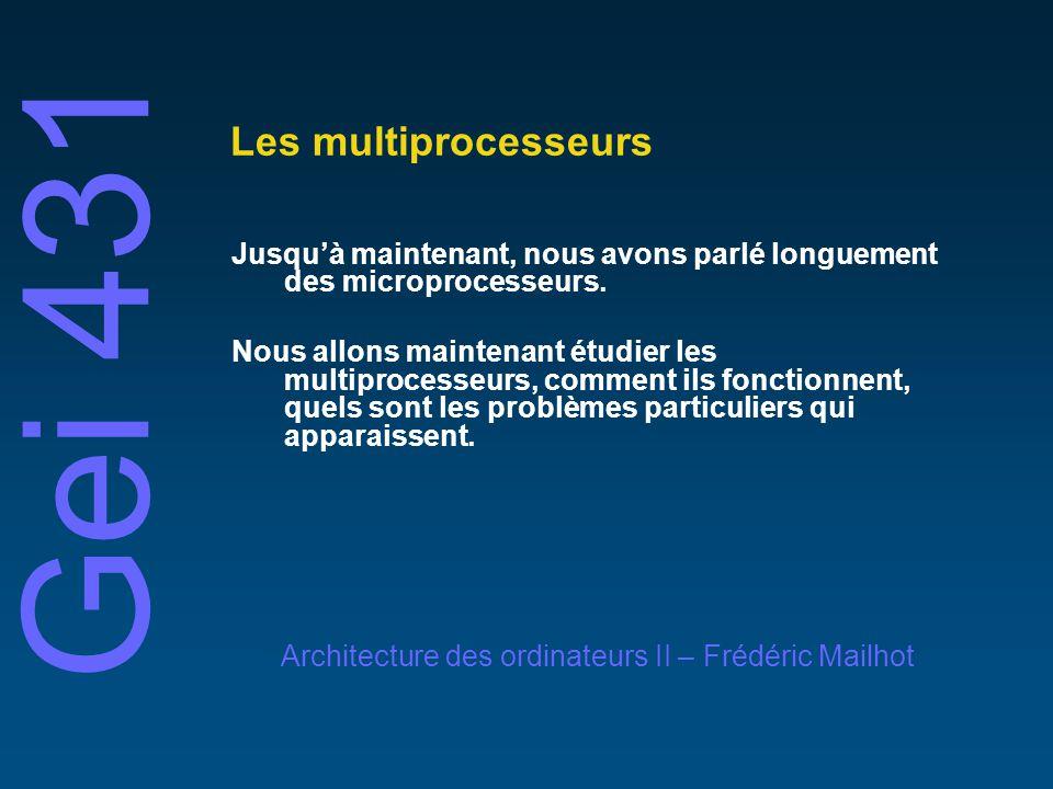 © 2001 Frédéric MailhotUniversité de Sherbrooke Les multiprocsseurs Les multiprocesseurs Périodiquement, depuis les années 60, on a prédit la fin des uniprocesseurs, au profit des multiprocesseurs On parle souvent de la vitesse de la lumière comme dune limite proche dêtre atteinte: C = 3 X 10 ^ 8 m/s – » 15 cm / 0,5 ns (2 GHz) On dit que des architectures nouvelles (multiprocesseurs) devront être utilisées pour continuer daméliorer la performance Mais… depuis 1985, laugmentation de performance des processeurs est la plus importante depuis la fin des années 50!