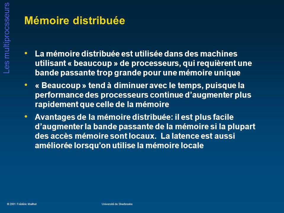© 2001 Frédéric MailhotUniversité de Sherbrooke Les multiprocsseurs Mémoire distribuée La mémoire distribuée est utilisée dans des machines utilisant « beaucoup » de processeurs, qui requièrent une bande passante trop grande pour une mémoire unique « Beaucoup » tend à diminuer avec le temps, puisque la performance des processeurs continue daugmenter plus rapidement que celle de la mémoire Avantages de la mémoire distribuée: il est plus facile daugmenter la bande passante de la mémoire si la plupart des accès mémoire sont locaux.