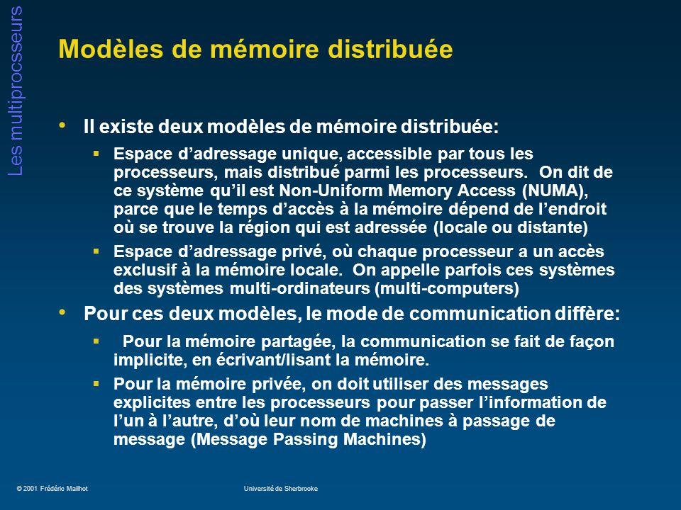 © 2001 Frédéric MailhotUniversité de Sherbrooke Les multiprocsseurs Modèles de mémoire distribuée Il existe deux modèles de mémoire distribuée: Espace dadressage unique, accessible par tous les processeurs, mais distribué parmi les processeurs.