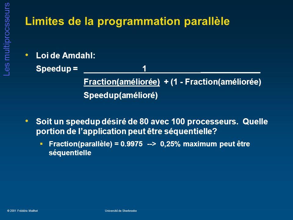 © 2001 Frédéric MailhotUniversité de Sherbrooke Les multiprocsseurs Limites de la programmation parallèle Loi de Amdahl: Speedup = 1_____________ Frac