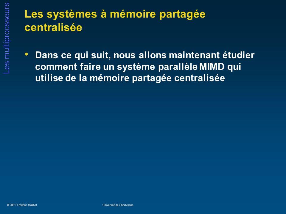 © 2001 Frédéric MailhotUniversité de Sherbrooke Les multiprocsseurs Les systèmes à mémoire partagée centralisée Dans ce qui suit, nous allons maintena