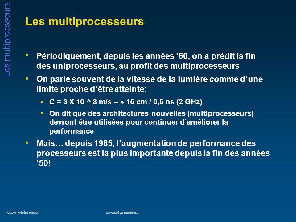 © 2001 Frédéric MailhotUniversité de Sherbrooke Les multiprocsseurs Les multiprocesseurs Périodiquement, depuis les années 60, on a prédit la fin des