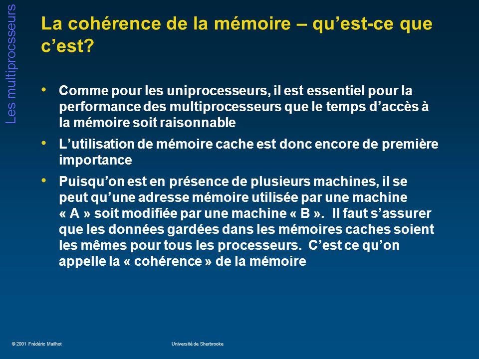 © 2001 Frédéric MailhotUniversité de Sherbrooke Les multiprocsseurs La cohérence de la mémoire – quest-ce que cest? Comme pour les uniprocesseurs, il