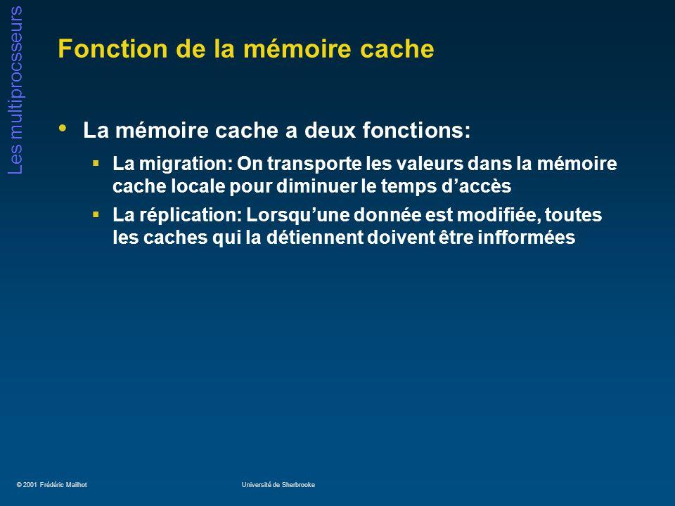 © 2001 Frédéric MailhotUniversité de Sherbrooke Les multiprocsseurs Fonction de la mémoire cache La mémoire cache a deux fonctions: La migration: On t