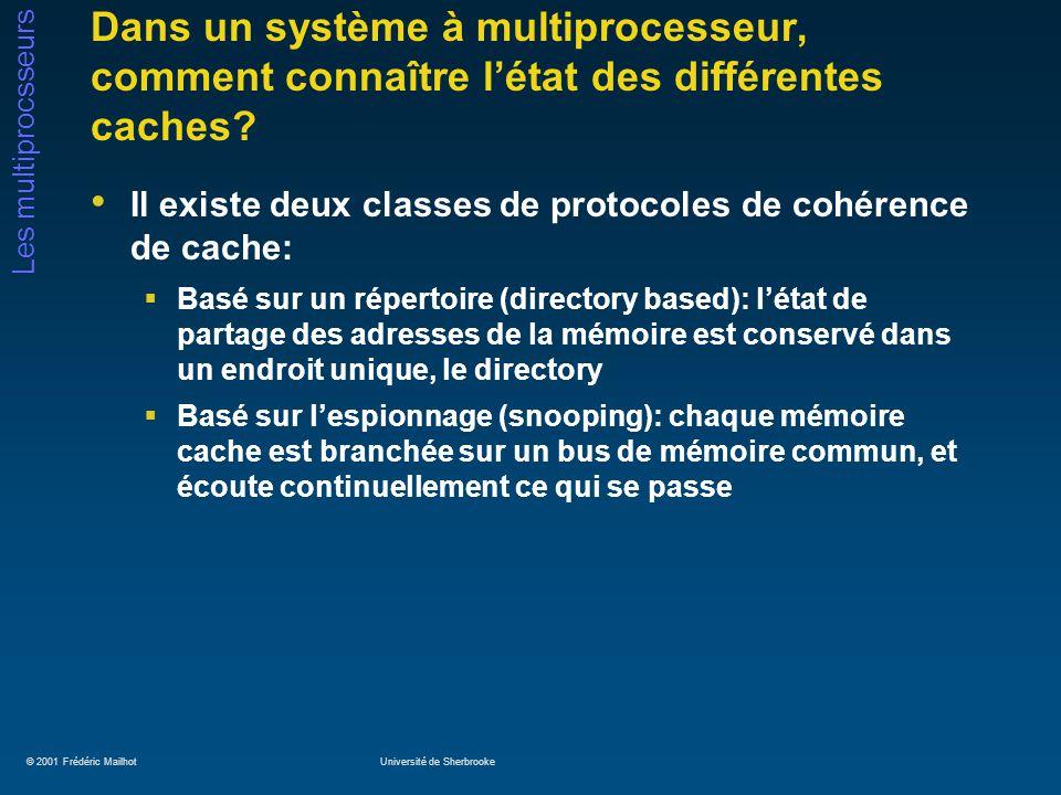 © 2001 Frédéric MailhotUniversité de Sherbrooke Les multiprocsseurs Dans un système à multiprocesseur, comment connaître létat des différentes caches?