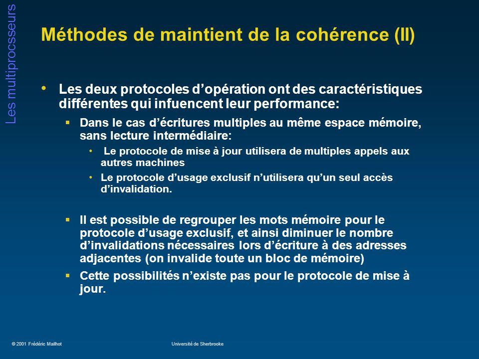 © 2001 Frédéric MailhotUniversité de Sherbrooke Les multiprocsseurs Méthodes de maintient de la cohérence (II) Les deux protocoles dopération ont des