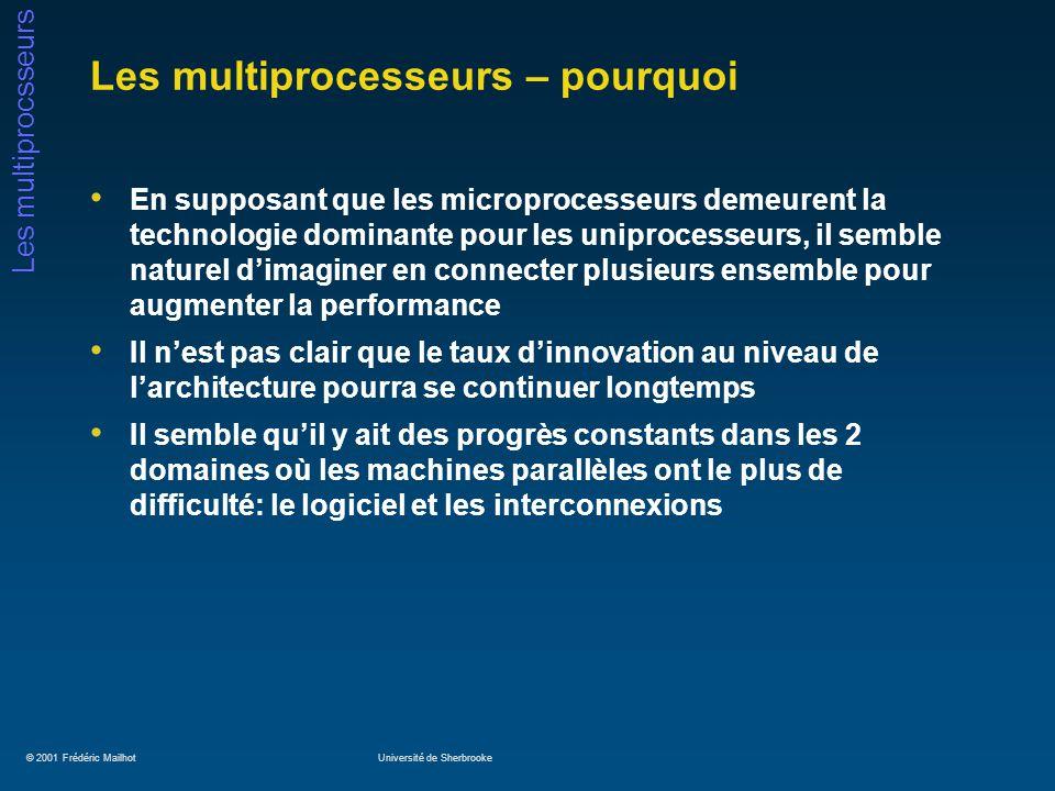 © 2001 Frédéric MailhotUniversité de Sherbrooke Les multiprocsseurs Les multiprocesseurs – pourquoi En supposant que les microprocesseurs demeurent la