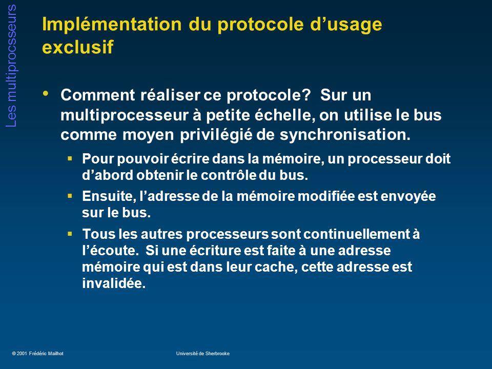 © 2001 Frédéric MailhotUniversité de Sherbrooke Les multiprocsseurs Implémentation du protocole dusage exclusif Comment réaliser ce protocole? Sur un