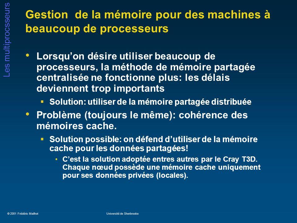 © 2001 Frédéric MailhotUniversité de Sherbrooke Les multiprocsseurs Gestion de la mémoire pour des machines à beaucoup de processeurs Lorsquon désire