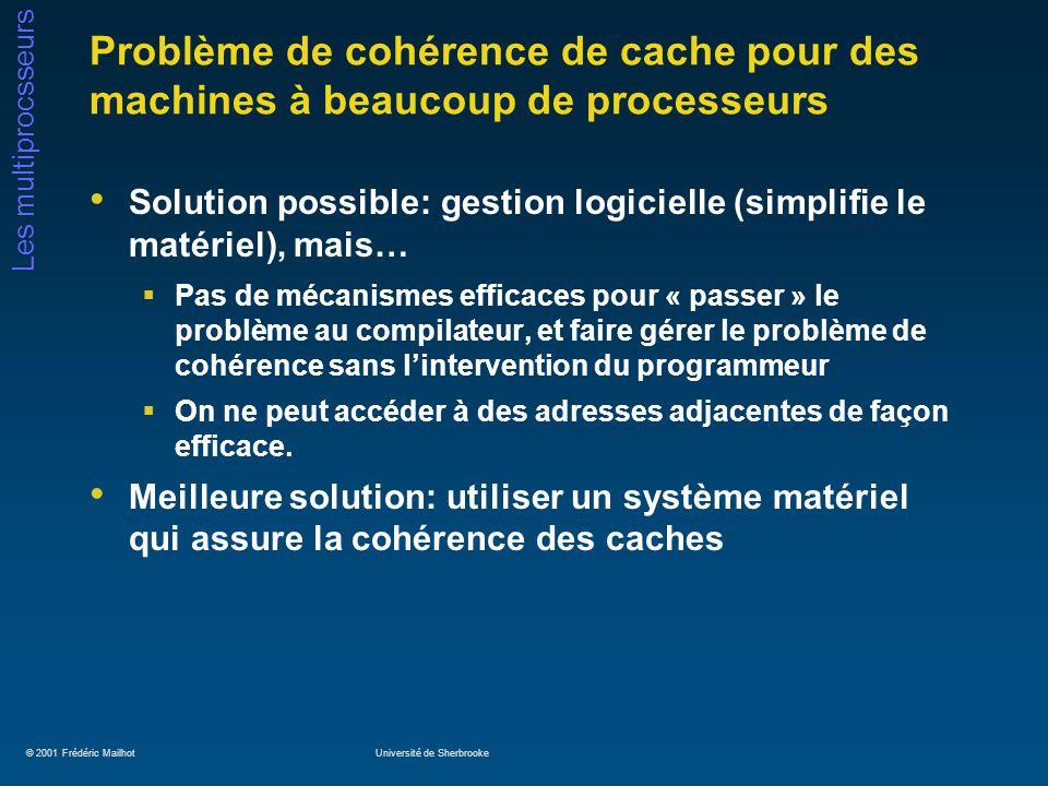 © 2001 Frédéric MailhotUniversité de Sherbrooke Les multiprocsseurs Problème de cohérence de cache pour des machines à beaucoup de processeurs Solutio