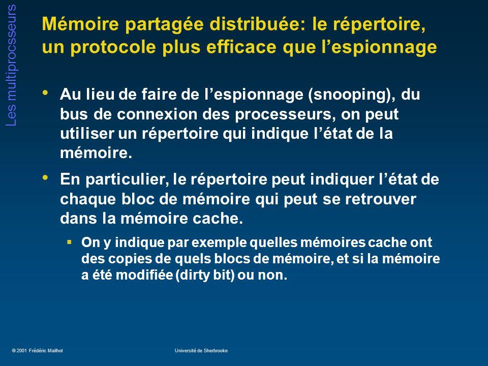 © 2001 Frédéric MailhotUniversité de Sherbrooke Les multiprocsseurs Mémoire partagée distribuée: le répertoire, un protocole plus efficace que lespion