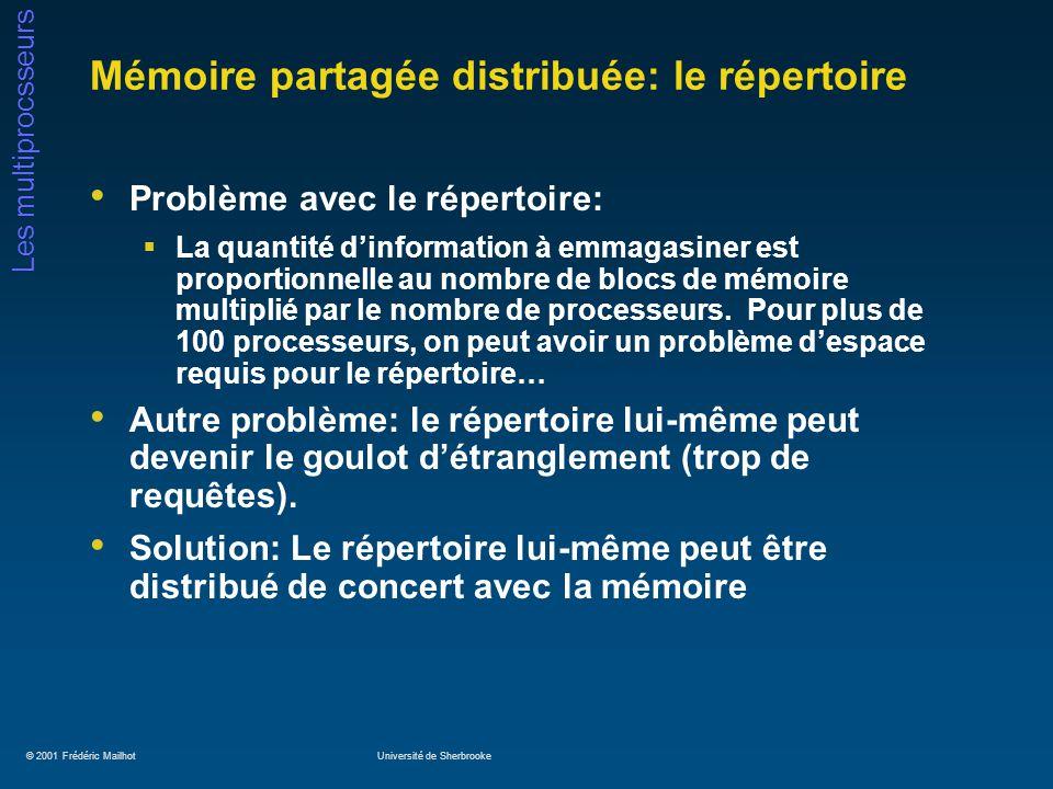 © 2001 Frédéric MailhotUniversité de Sherbrooke Les multiprocsseurs Mémoire partagée distribuée: le répertoire Problème avec le répertoire: La quantit