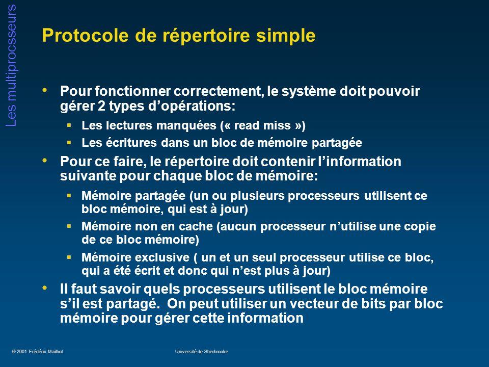 © 2001 Frédéric MailhotUniversité de Sherbrooke Les multiprocsseurs Protocole de répertoire simple Pour fonctionner correctement, le système doit pouv