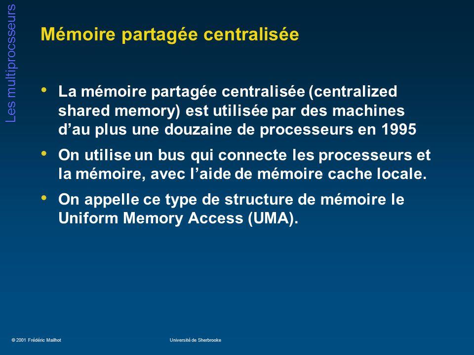 © 2001 Frédéric MailhotUniversité de Sherbrooke Les multiprocsseurs Mémoire partagée centralisée La mémoire partagée centralisée (centralized shared m