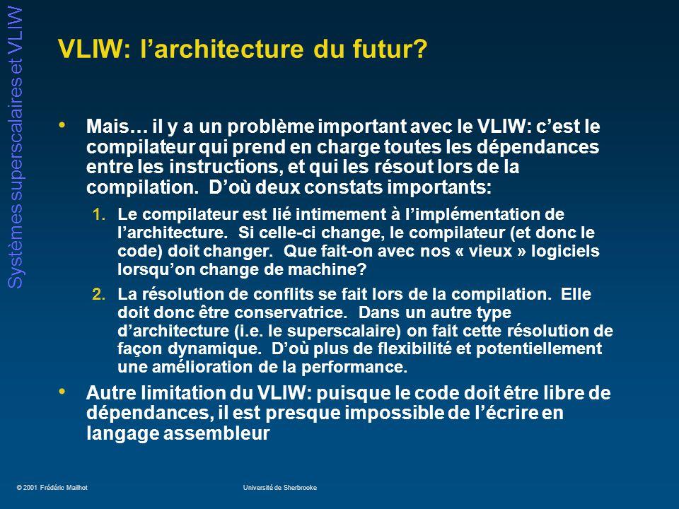 © 2001 Frédéric MailhotUniversité de Sherbrooke Systèmes superscalaires et VLIW VLIW: larchitecture du futur? Mais… il y a un problème important avec