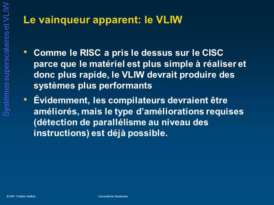 © 2001 Frédéric MailhotUniversité de Sherbrooke Systèmes superscalaires et VLIW Le vainqueur apparent: le VLIW Comme le RISC a pris le dessus sur le C