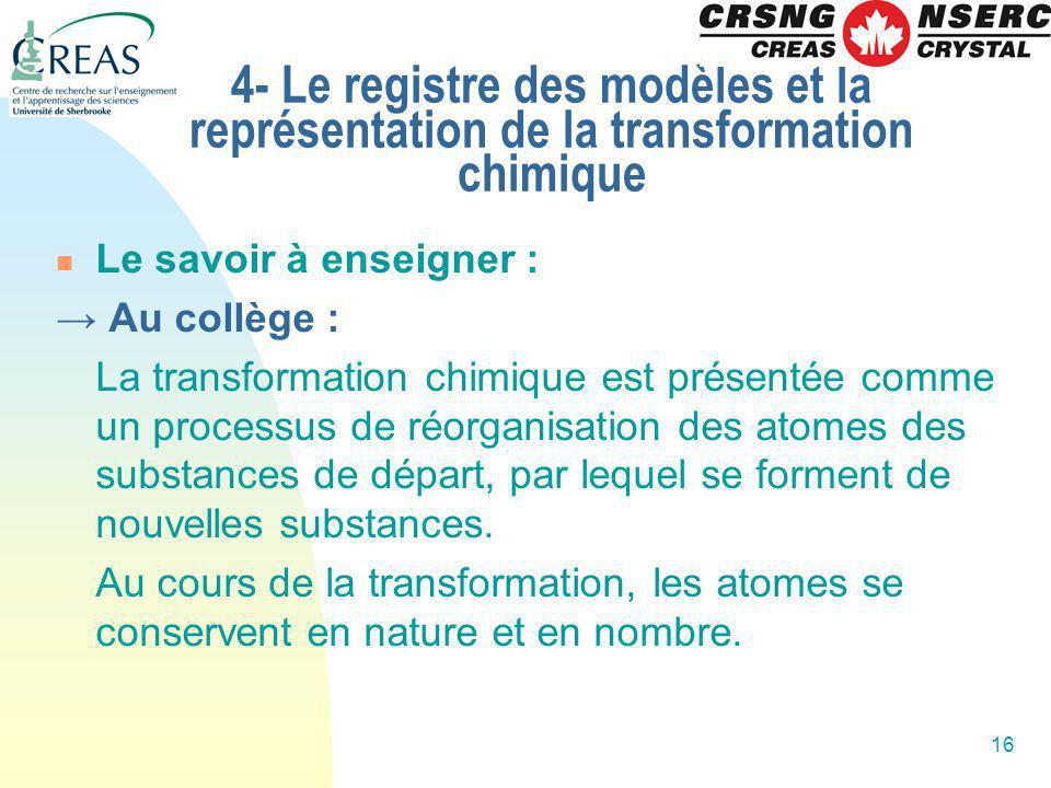 16 4- Le registre des modèles et la représentation de la transformation chimique Le savoir à enseigner : Au collège : La transformation chimique est p