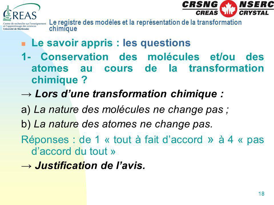 18 Le savoir appris : les questions 1- Conservation des molécules et/ou des atomes au cours de la transformation chimique ? Lors dune transformation c