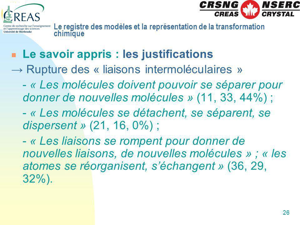 26 Le savoir appris : les justifications Rupture des « liaisons intermoléculaires » - « Les molécules doivent pouvoir se séparer pour donner de nouvel