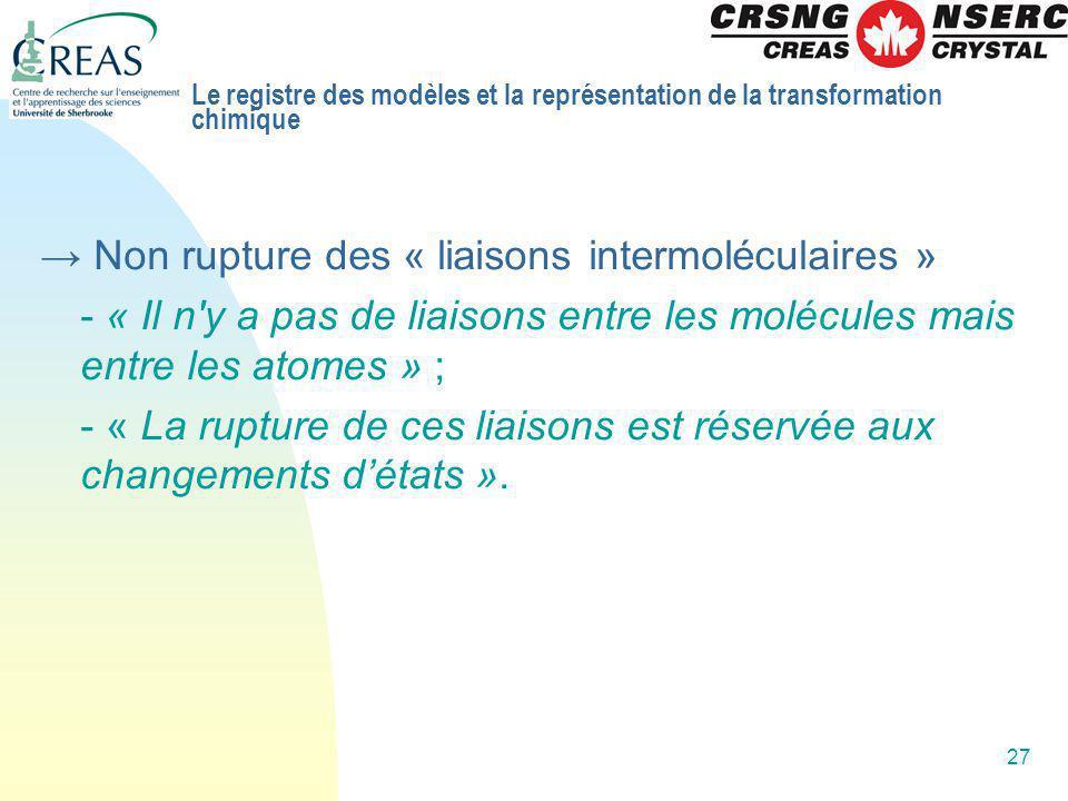 27 Non rupture des « liaisons intermoléculaires » - « Il n'y a pas de liaisons entre les molécules mais entre les atomes » ; - « La rupture de ces lia