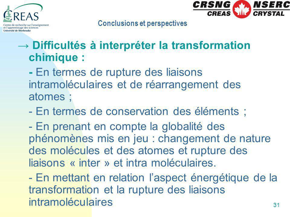 31 Difficultés à interpréter la transformation chimique : - En termes de rupture des liaisons intramoléculaires et de réarrangement des atomes ; - En