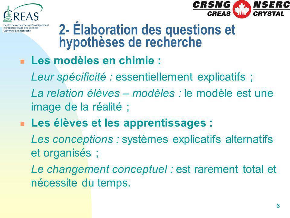 6 2- Élaboration des questions et hypothèses de recherche Les modèles en chimie : Leur spécificité : essentiellement explicatifs ; La relation élèves