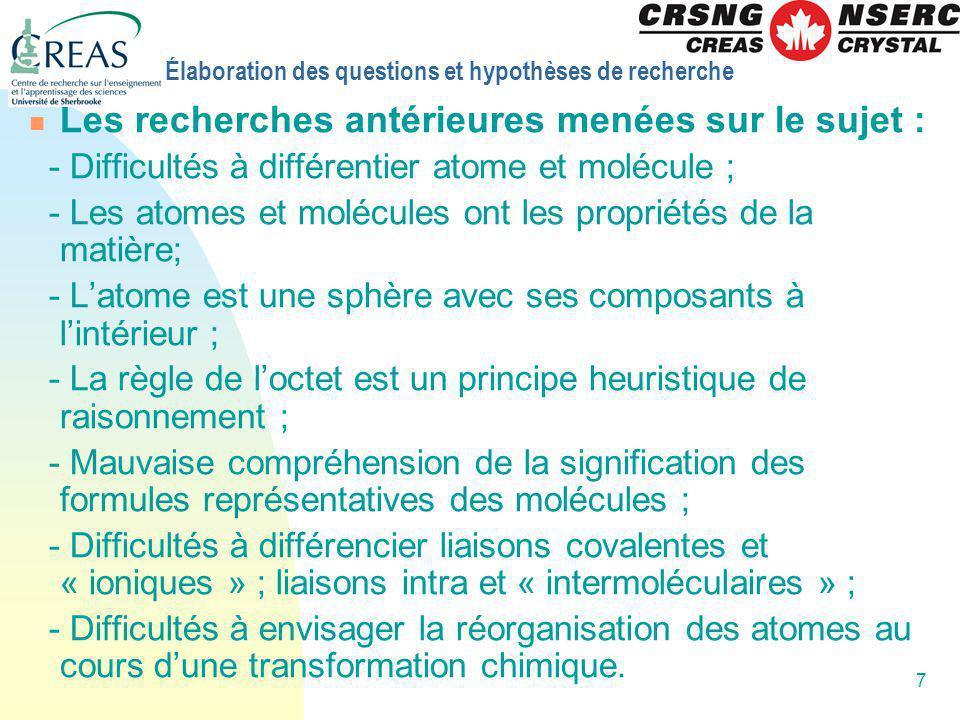 8 Élaboration des questions et hypothèses de recherche Questions de la recherche et hypothèses: Question 1 : Quels modèles de latome, de la molécule et de la liaison chimique ont la préférence des élèves .
