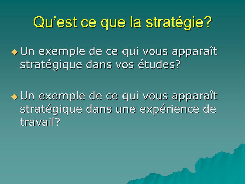 Quest ce que la stratégie.Un exemple de ce qui vous apparaît stratégique dans vos études.