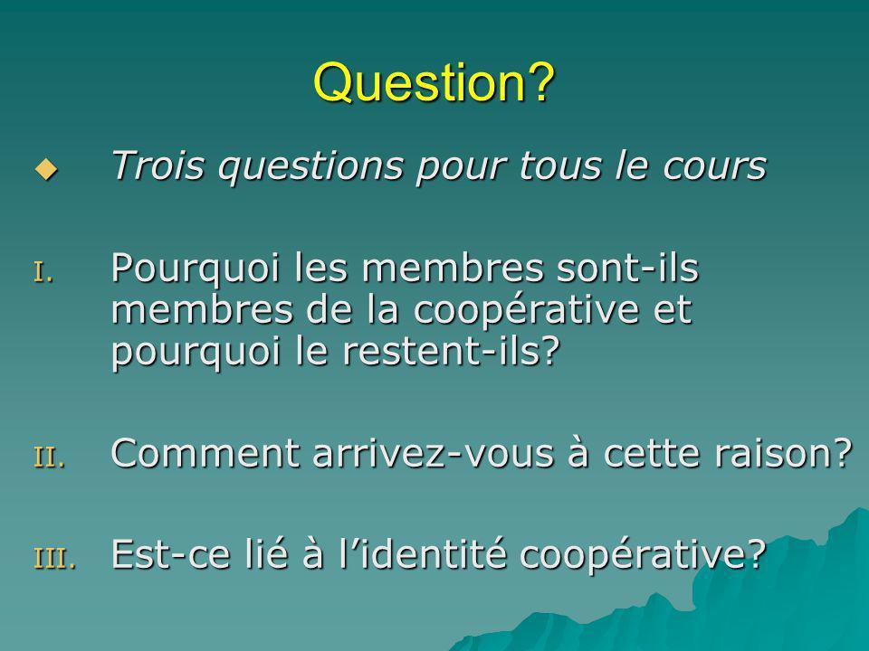 Question.Trois questions pour tous le cours Trois questions pour tous le cours I.