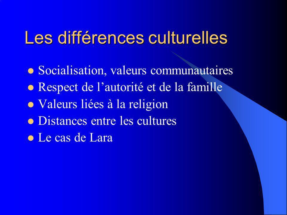 Les différences culturelles Socialisation, valeurs communautaires Respect de lautorité et de la famille Valeurs liées à la religion Distances entre les cultures Le cas de Lara