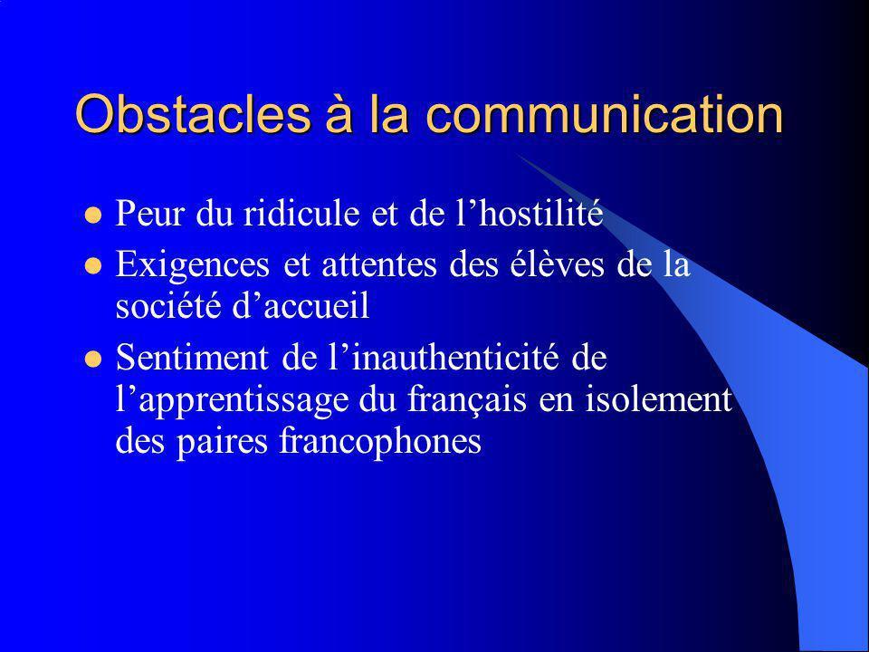 Obstacles à la communication Peur du ridicule et de lhostilité Exigences et attentes des élèves de la société daccueil Sentiment de linauthenticité de lapprentissage du français en isolement des paires francophones