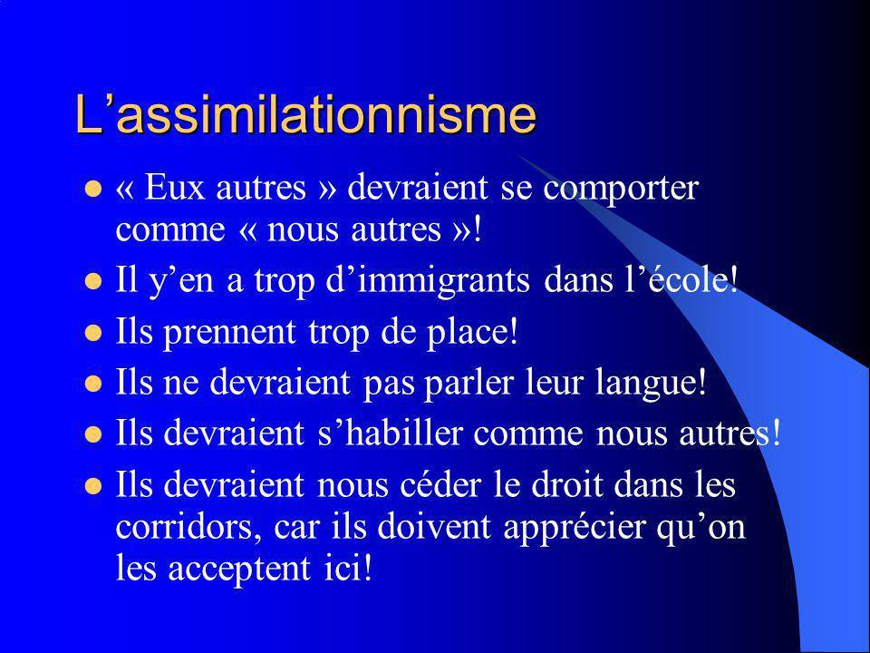 Lassimilationnisme « Eux autres » devraient se comporter comme « nous autres ».