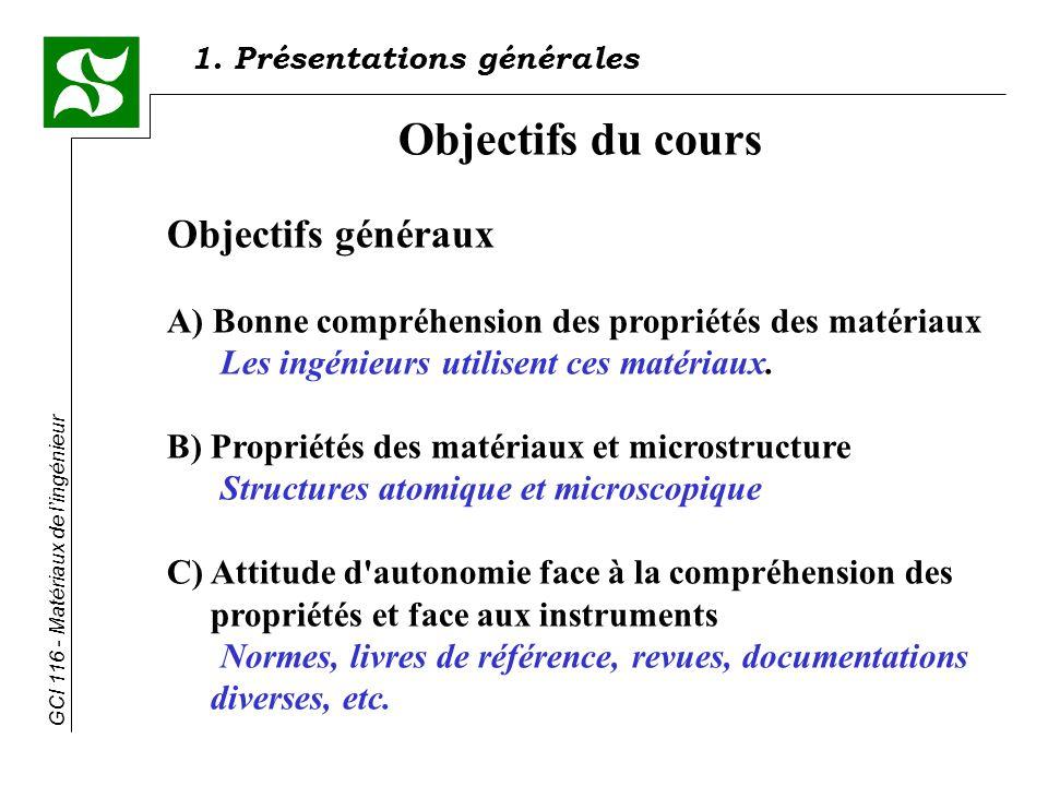 GCI 116 - Matériaux de lingénieur Objectifs du cours Objectifs généraux A) Bonne compréhension des propriétés des matériaux Les ingénieurs utilisent ces matériaux.