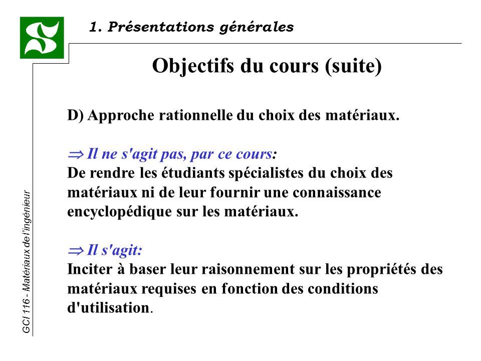 GCI 116 - Matériaux de lingénieur Objectifs du cours (suite) D) Approche rationnelle du choix des matériaux.